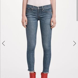 Rag & Bone Ankle Skinny Jeans Cropped Fray Ankle